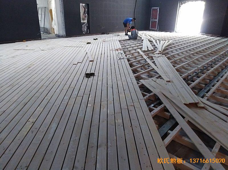河北廊坊益田同文学校舞台体育木地板铺设案例