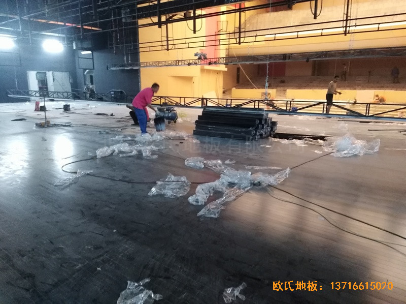 河北廊坊益田同文学校舞台体育地板施工案例5