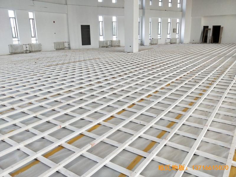 北京房山长阳小学篮球训练馆体育地板铺设案例