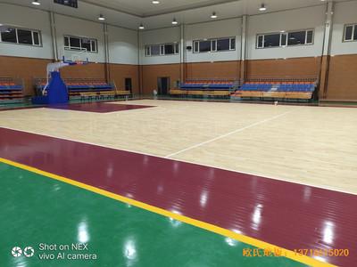 山西阳泉盂县明鑫加油站篮球馆体育木地板铺设案例