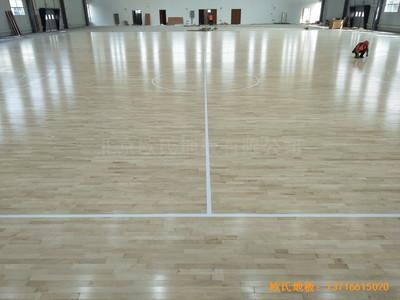 江苏新能源科技公司篮球馆运动木地板安装案例