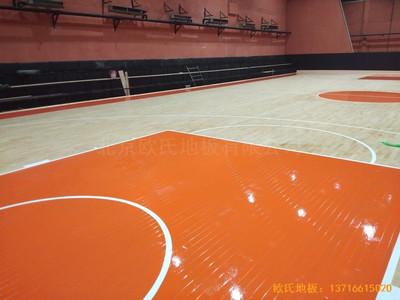 石家庄青园街电信营业厅对面篮球馆体育木地板施工案例
