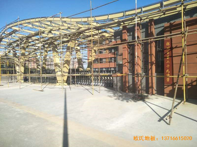 银川第二十九中学篮球馆运动木地板安装案例