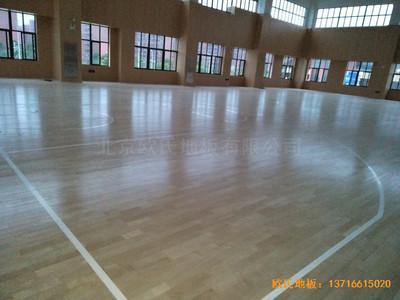 上海松江区佘北学校运动馆体育地板铺设案例