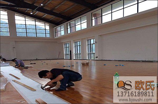 篮球馆木地板 枫木地板施工案例-丽水市第二中学体育场馆安装